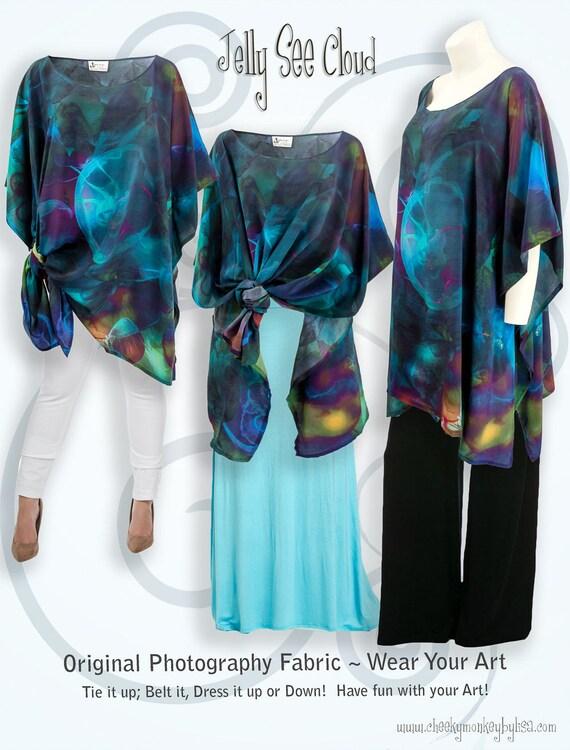 e1f312aa801 Teal blue jelly fish fabric silk kaftan colorful plus size