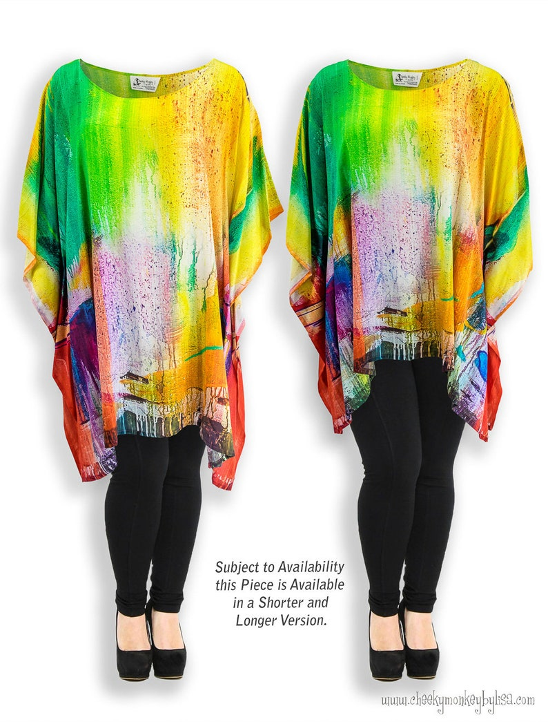 b776bb5ac5d24 Colorful abstract art silk clothing travel clothes, rainbow top gift ideas  for her, 12 year anniversary gift, plus size women sexy clothes