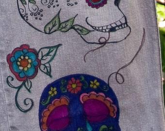 Doodled Denim - Mexican Folk Art Drawn on Jean Jeggings, sugar skulls, day of the dead clothing