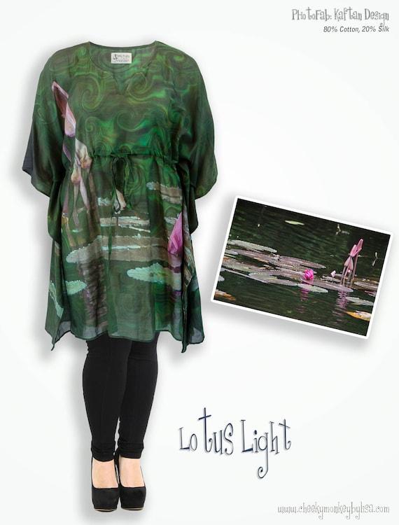aa7e87a96df Lotus flower emerald green tunic plus size clothing unusual