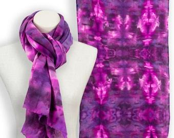 Bright colors luxurious geometric scarf; Hand dyed shibori fushia graphic scarf; Magenta pink wool silk summer scarf bridesmaid gift ideas