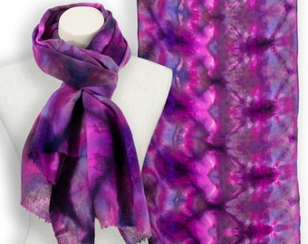 Itajime magenta purple & hot pink pashmina; Fuschia and purple kaleidoscope scarf; Ice dyed purple and hot pink scarf gift ideas for her