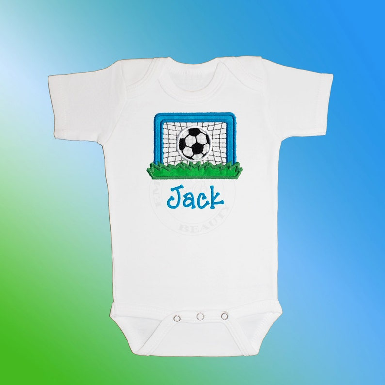 Baby Shirt Bodysuit Personalized Applique Embroidered Short or Long Sleeved Soccer Goal
