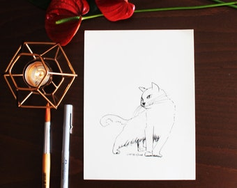 Chat et lune Carte de Vœux les amateurs de chat idée cadeau anniversaire peut personnaliser a5