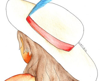 Girl in a hat, watercolor illustration print on paper A5 size for room decor great as teenage girl gift