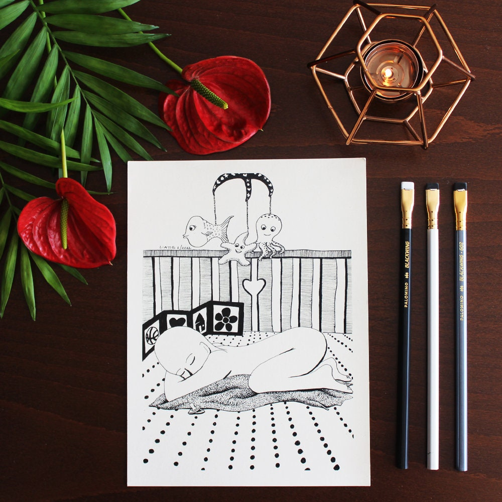 Black And White Baby Sleeping: Baby Sleeping Black And White A5 Illustration Print On