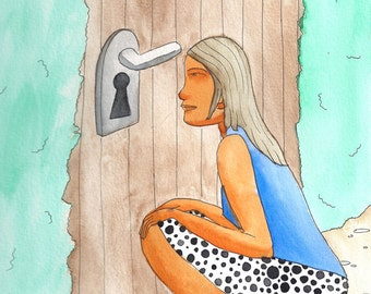 Look in the lock illustration, watercolor illustration print on paper A5 size great as teenage girl gift