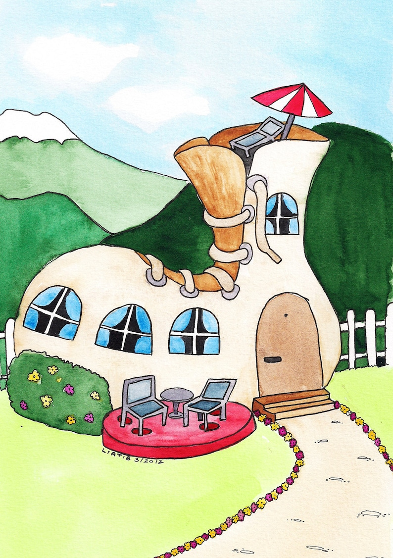 Shoe House Drawing Watercolor A5 Illustration Print On