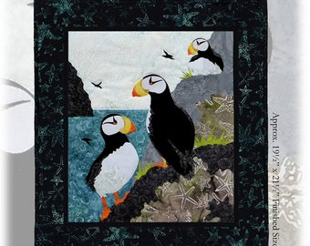 Horned Puffin Wildfire Designs Alaska DIY Fusible Applique Quilt Pattern Puffins