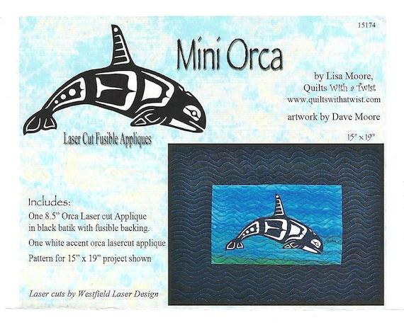 Lisa Moore Mini Killer Whale Laser Cut Fusible Appliqué Quilting Appliqué Only