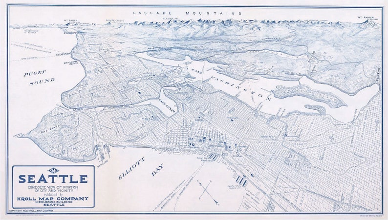 Seattle Nordwest Washington Map Fabric EXCLUSIVE Bellevue Mt Rainier Kroll  Map c1925 1 Map Panel 36 \