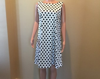 18832a0a915 Black and White Small Polka Dot Career Dress