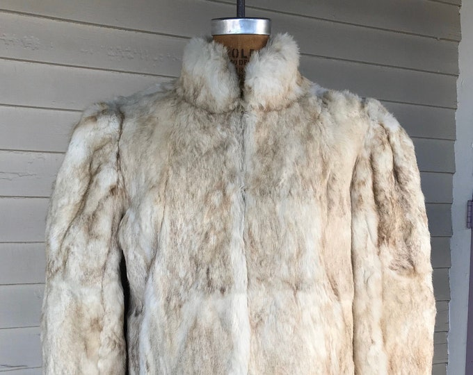 Featured listing image: 1980s White and Brown Rabbit Fur Coat with Shoulder Pads | Vintage Fur Jacket | Womens Size M
