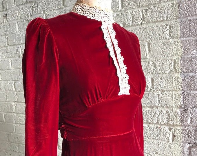 Featured listing image: 1970s Blood Red Velvet Dress in a Victorian Silhouette