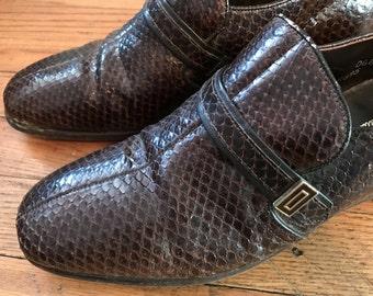 af26ffb1bf3 1970s Genuine Snakeskin Loafers by Nettleton Traditionals