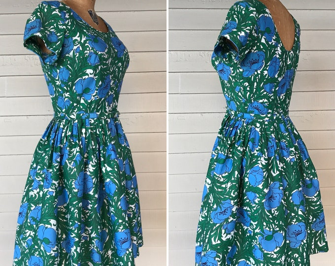 Featured listing image: 1950s Belted Cotton Dress with  Floral Poppy Print
