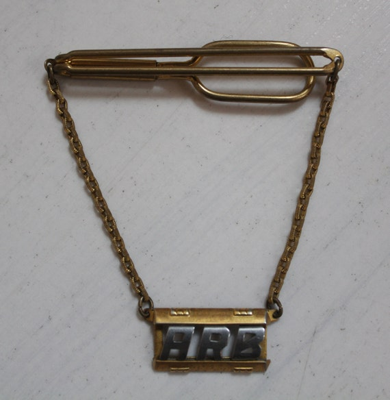 SALE 1940s Swank Tie Bar with Hanging Initials ARB Vintage