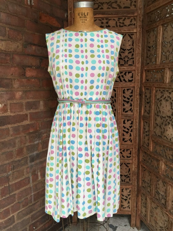 1960s Polka Dot Sundress Vintage Swiss Dot