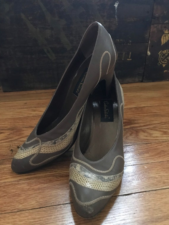 1980s Carlos Falchi Leather Heels with Snakeskin D