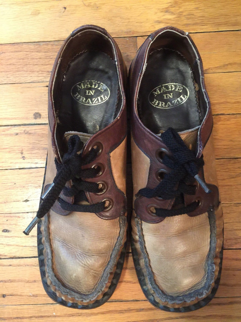 4e2a1553619e4 1970s Two-Tone Leather Men's Shoes Made In Brazil Vintage Men's Oxfords