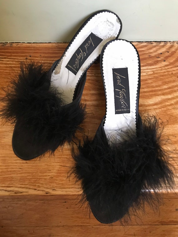 1950s Lord and Taylor Black Satin Boudoir Mules w… - image 4