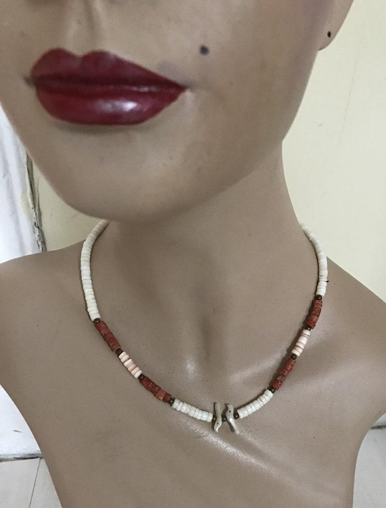 Vintage Shell Jewelry 1970s Seashell Necklace and Bracelet Set