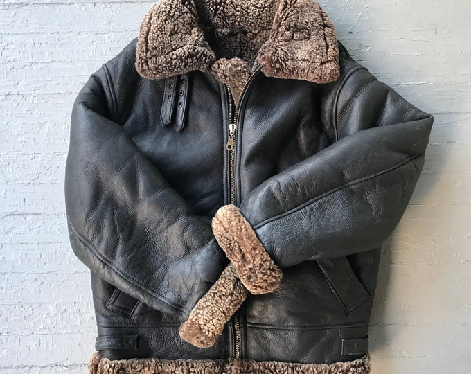 Featured listing image: 1990s Mens Harlin Bomber Jacket with Detachable Hood| Leather and Shearling | Size XL