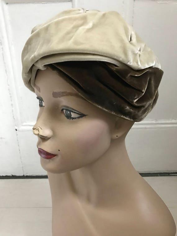 1960s Two-Tone Velvet Turban
