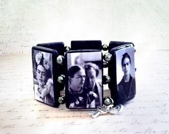 Frida Kahlo Diego Rivera Wood Bracelet