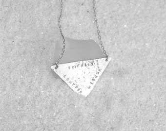 Silver triangle serenity, courage, wisdom recovery necklace