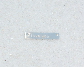 Silver love bar necklace personalized