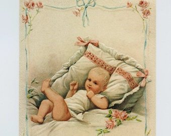 BABY POST CARD, Baby Postcard, Baby Shower Card, Victorian Post Card, Vintage Post Card, Victorian Baby, Vintage Reproduction Postcard