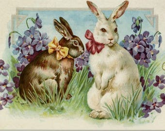 EASTER POST CARD, Easter Bunnies Postcard, Victorian Post Card, Vintage Post Card, Vintage Reproduction Postcards, Victorian Easter