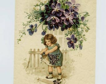 VICTORIAN POST CARD, Victorian Child, Victorian Floral, Vintage Post Card, Violets, Vintage Reproduction Postcard, Victorian Children