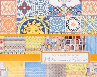 MEDITERRANEAN CARD STOCK, Tile Print Card Stock, Paper Pack, Scrapberry Paper Pack, 12 X 12 Card Stock, Mediterranean Tile Paper, Tile Print