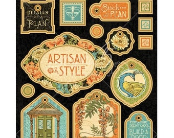 Art Nouveau CHIPBOARD TAGS - Graphic 45 Artisan Style - Chipboard Die Cuts - Scrapbook Tags - Art Nouveau Scrapbook - Chipboard Tags