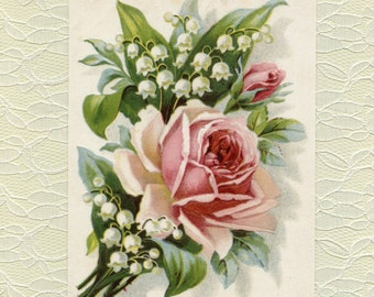 Victorian POST CARD, Victorian Postcard, Rose Postcard, Victorian Rose Postcard, Rose Post Card, Vintage Reproduction Postcards