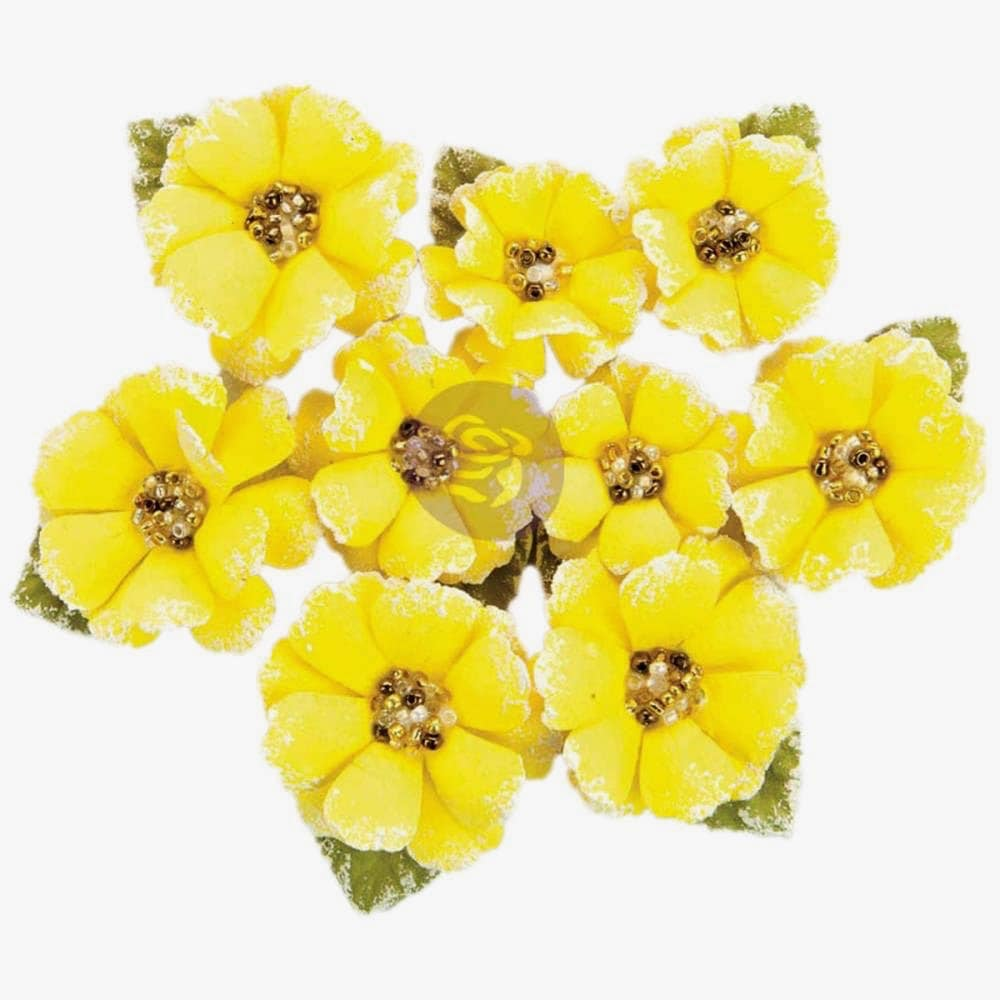 Yellow Paper Flowers Yellow Craft Flowers Prima Flowers Etsy