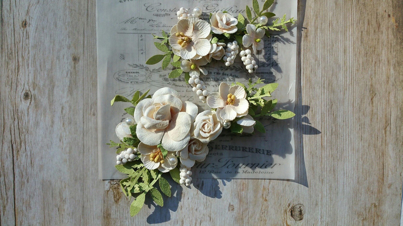 Cream Paper Flowers Prima Mulberry Flowers Prima Flowers Etsy