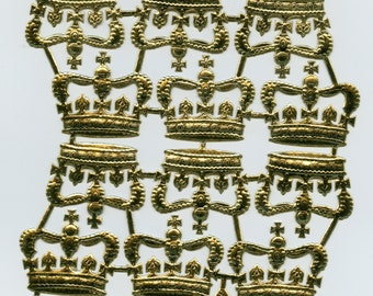 DRESDEN CROWNS, Dresdens, Die Cut Crowns, Gold Foil Crowns, Gold Paper Crowns, Crown Die Cuts, Gold Flat Paper Crowns, Paper Craft Crowns