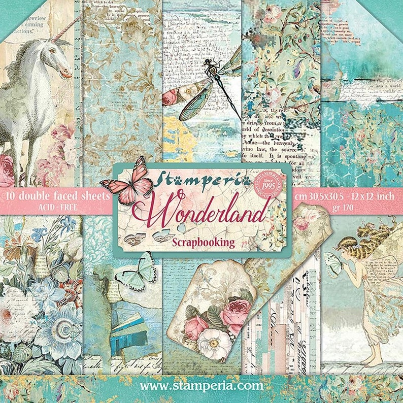 STAMPERIA CARD STOCK Stamperia Wonderland Fantasy Card Stock Distressed Card Stock 12 x 12 Paper Mixed Media Paper 12 x 12 Card Stock