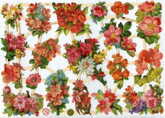 Flower Scrap Reliefs Floral Scrap Reliefs Floral Die Cuts Etsy