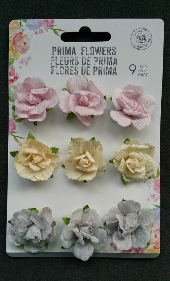 Pastel paper roses prima flowers prima lavender flowers etsy image 0 mightylinksfo
