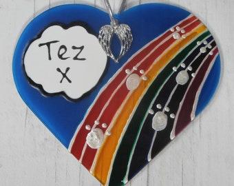 Hand painted Pet Memorial 'Rainbow Bridge Angel wing' sun catcher decoration. Dog memorial, Cat memorial, Pet loss gift
