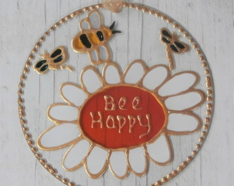 Hand painted Bee and Daisy 'Bee Happy' sun catcher decoration. Birthday. Inspirational.