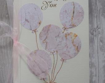 Handmade 'Thinking of you' greetings card. Birthday, Mum, Sister, Auntie, Friend