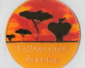 Follow your dreams, African plain, Elephant sun catcher