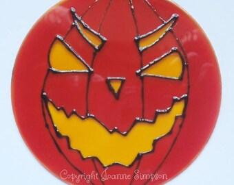 Halloween pumpkin suncatcher