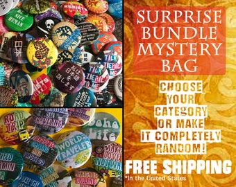 Discount Mystery Bag Pinback Buttons!  Free Shipping.  Random Pins, Backpack Pins, Hippie Buttons, Travel Buttons, Boho Buttons, Political