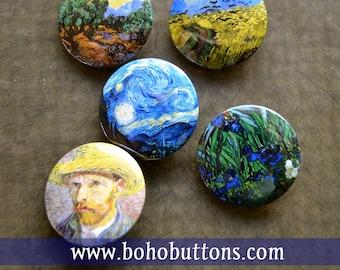 "Vincent Van Gogh Magnet set Van Gogh Pinback Buttons ""Olive Trees"" ""Starry Night"" ""Self Portrait, Straw Hat"" ""Wheatfield with Corn"" ""Irises"""